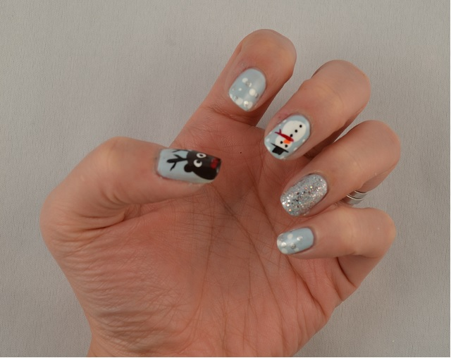 Reindeer and Snowman Nail Art