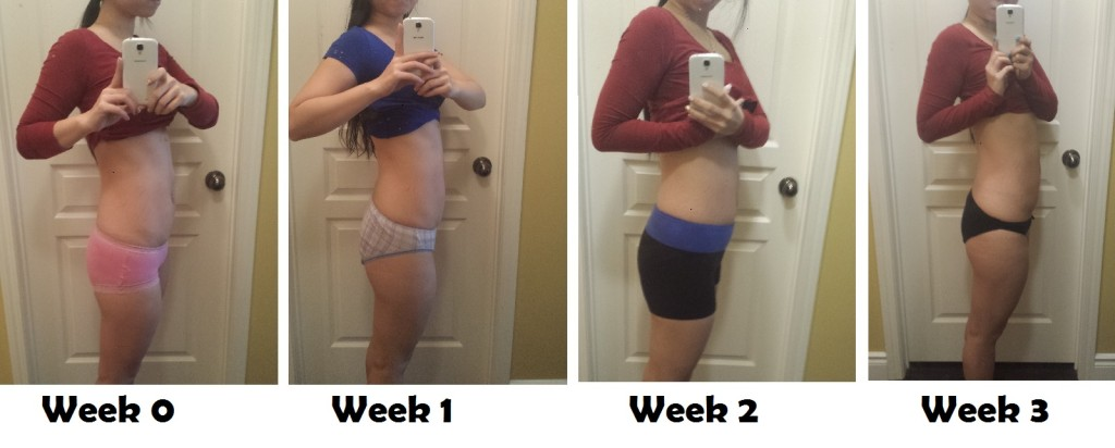 progress pic from week 0 to week 3