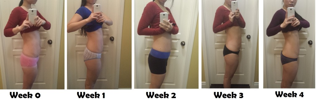 progress pic from week 0 to week 4